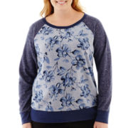 St. John's Bay® Long-Sleeve Floral Print Sweatshirt - Plus