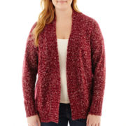 St. John's Bay® Long-Sleeve Marled Flyaway Cardigan - Plus