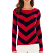 Liz Claiborne® Long-Sleeve Chevron Sweater - Tall