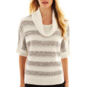 Alyx® Short-Sleeve Striped Cowlneck Sweater