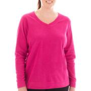 Made For Life™ Long-Sleeve Brushed Fleece V-Neck Pullover - Plus