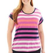 a.n.a® Short-Sleeve Striped Boyfriend Tee - Plus