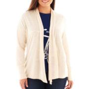 jcp™ Long-Sleeve Flyaway Cardigan Sweater - Plus