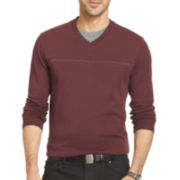 Van Heusen® Long-Sleeve Jaspé Doubler Knit Shirt