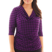 Worthington® 3/4-Sleeve Cowlneck Print Top - Plus
