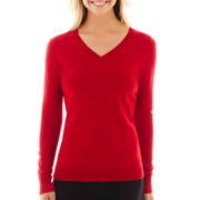 Worthington® Long-Sleeve V-Neck Sweater - Tall