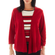 Alfred Dunner® 3/4-Sleeve Metallic-Striped Layered Sweater