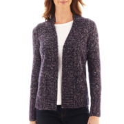 St. John's Bay® Long-Sleeve Marled Flyaway Cardigan - Tall