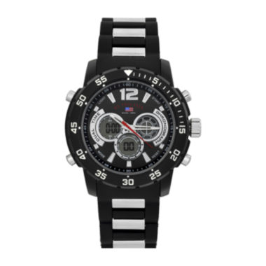 jcpenney.com | U.S. Polo Assn.® Mens Black Rubber Strap Sports Watch