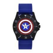 Marvel® Mens Blue Captain America Strap Watch