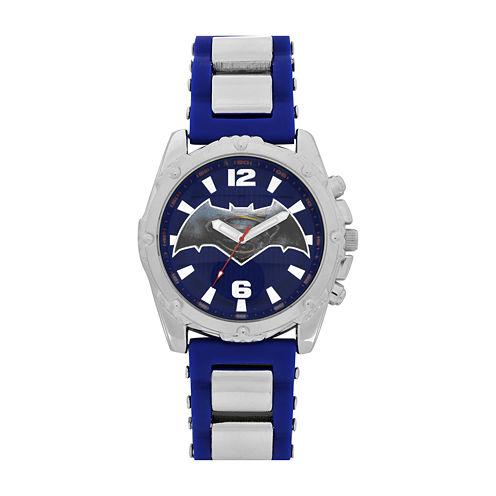 DC Comics® Mens Black Silver Strap Watch