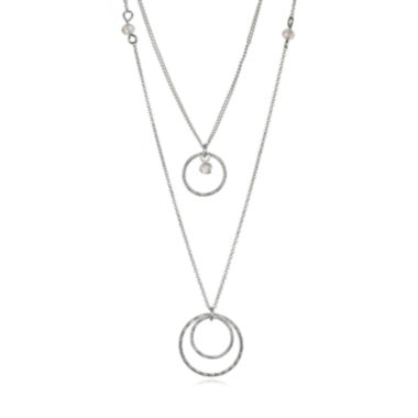 jcpenney.com | Mixit™ Silver-Tone Crystal Two-Row Necklace