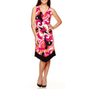 MSK Sleeveless Asymmetric Hem Print Dress