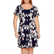 Robbie Bee® Short-Sleeve Floral Fit-and-Flare Dress - Plus
