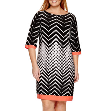 jcpenney.com | Studio 1® 3/4-Sleeve Dot Sheath Dress - Plus