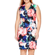 Bisou Bisou® Sleeveless V-Neck Floral Sheath Dress - Plus
