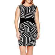 Bisou Bisou® Sleeveless Graphic Colorblock Sheath Dress - Plus