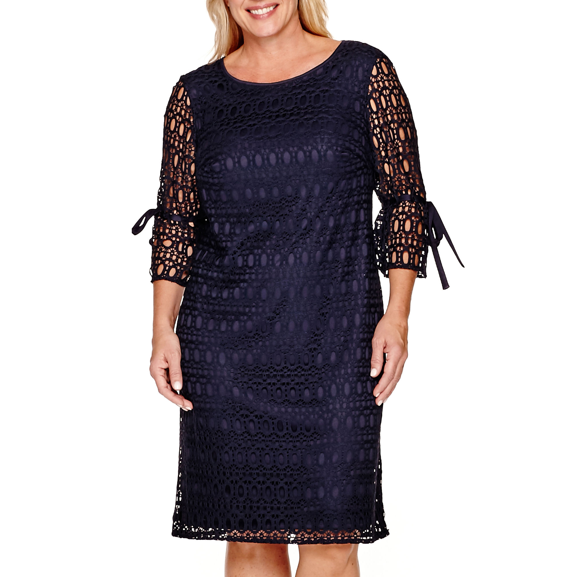 R & K Originals 3/4-Sleeve Lace Sheath Dress - Plus