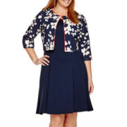 Perceptions 3/4-Sleeve Floral Jacket Dress - Plus