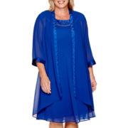 Maya Brooke 3/4-Sleeve Embellished Neck Trapeze Duster Jacket Dress - Plus
