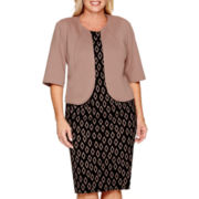 Maya Brooke 3/4-Sleeve Geo Print Jacket Dress - Plus