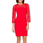 Studio 1® 3/4-Sleeve Lace Detail Sheath Dress - Petite