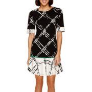 Robbie Bee® Elbow-Sleeve Textured Flounce Sheath Dress - Petite