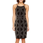Tiana B. Sleeveless Beaded Halter Sheath Dress - Petite