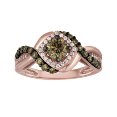 jcpenney.com | LIMITED QUANTITIES 1 CT. T.W. Champagne and White Diamond 14K Rose Gold Ring