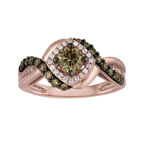 LIMITED QUANTITIES 1 CT. T.W. Champagne and White Diamond 14K Rose Gold Ring