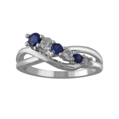 jcpenney.com | Lab-Created White and Blue Sapphire Crossover Sterling Silver Ring
