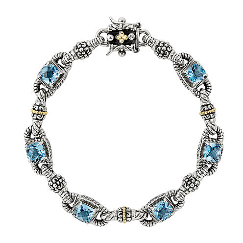 Shey Couture Genuine Sky Blue Topaz Sterling Silver 14K Gold Bracelet