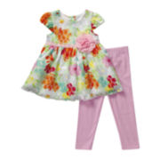 Youngland® Floral Dress and Leggings Set - Toddler Girls 2t-4t