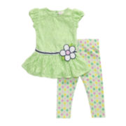 Youngland® Crochet Lace Dress and Leggings Set - Toddler Girls 2t-4t