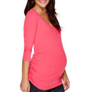 Maternity 3/4-Sleeve Button Front Henley Shirt-Plus