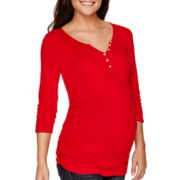 Maternity 3/4-Sleeve Solid Button Front Henley Shirt