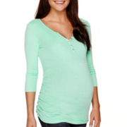 Maternity 3/4-Sleeve Button Front Henley Shirt