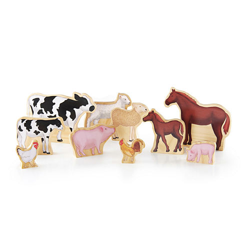 Guidecraft Wedgies 10-pc. Farm Animals Toy Set