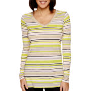 Liz Claiborne® Long-Sleeve V-Neck Striped Knit T-Shirt - Petite