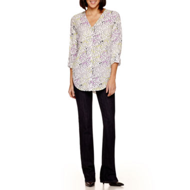 jcpenney.com | Liz Claiborne® Roll-Tab V-Neck Shirt or Straight-Leg Jeans