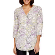 Liz Claiborne® Long-Sleeve Roll-Tab V-Neck Shirt