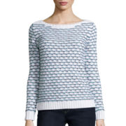 Liz Claiborne® Long-Sleeve Boatneck Striped Sweater