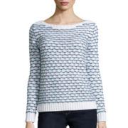 Liz Claiborne® Long-Sleeve Boatneck Striped Sweater