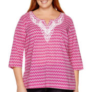 St. John's Bay® 3/4-Sleeve V-Neck Woven Tunic Shirt - Plus