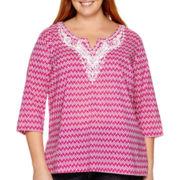 St. John's Bay® 3/4-Sleeve V-Neck Woven Tunic Shirt - Plus