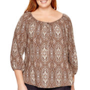 St. John's Bay® 3/4-Sleeve Peasant Top - Plus