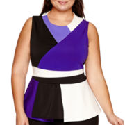 Worthington® Sleeveless Colorblock Peplum Top - Plus
