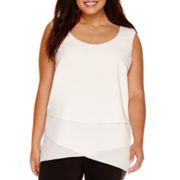 Bisou Bisou® Sleeveless Tiered High-Low Tunic Top - Plus