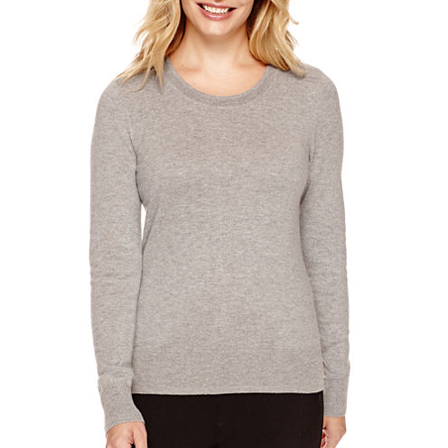 Worthington® Long-Sleeve Crewneck Pullover Sweater - Petite