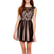 Speechless® Cap-Sleeve Illusion Sweetheart Lace Dress